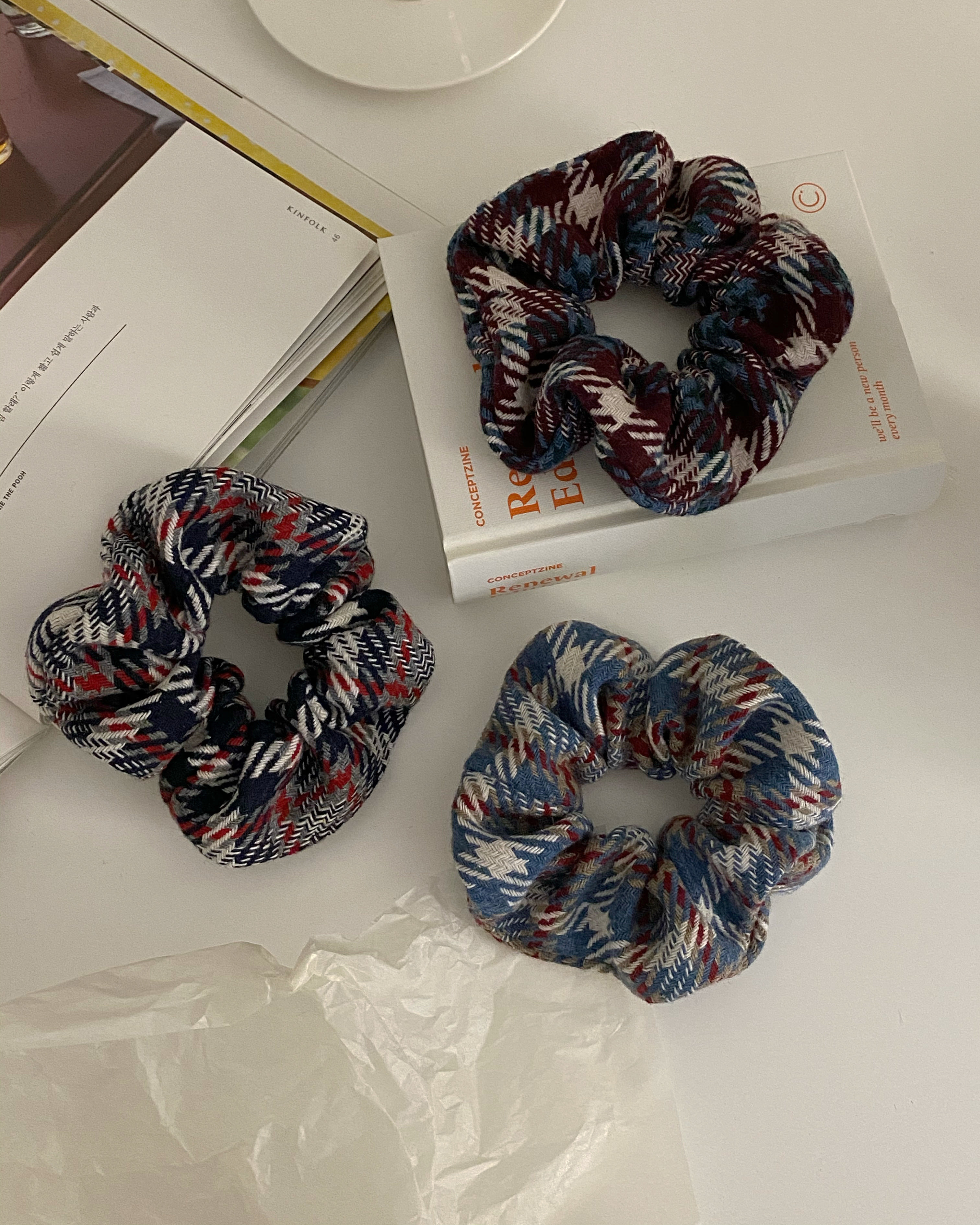 snow knit scrunchy (3 color)
