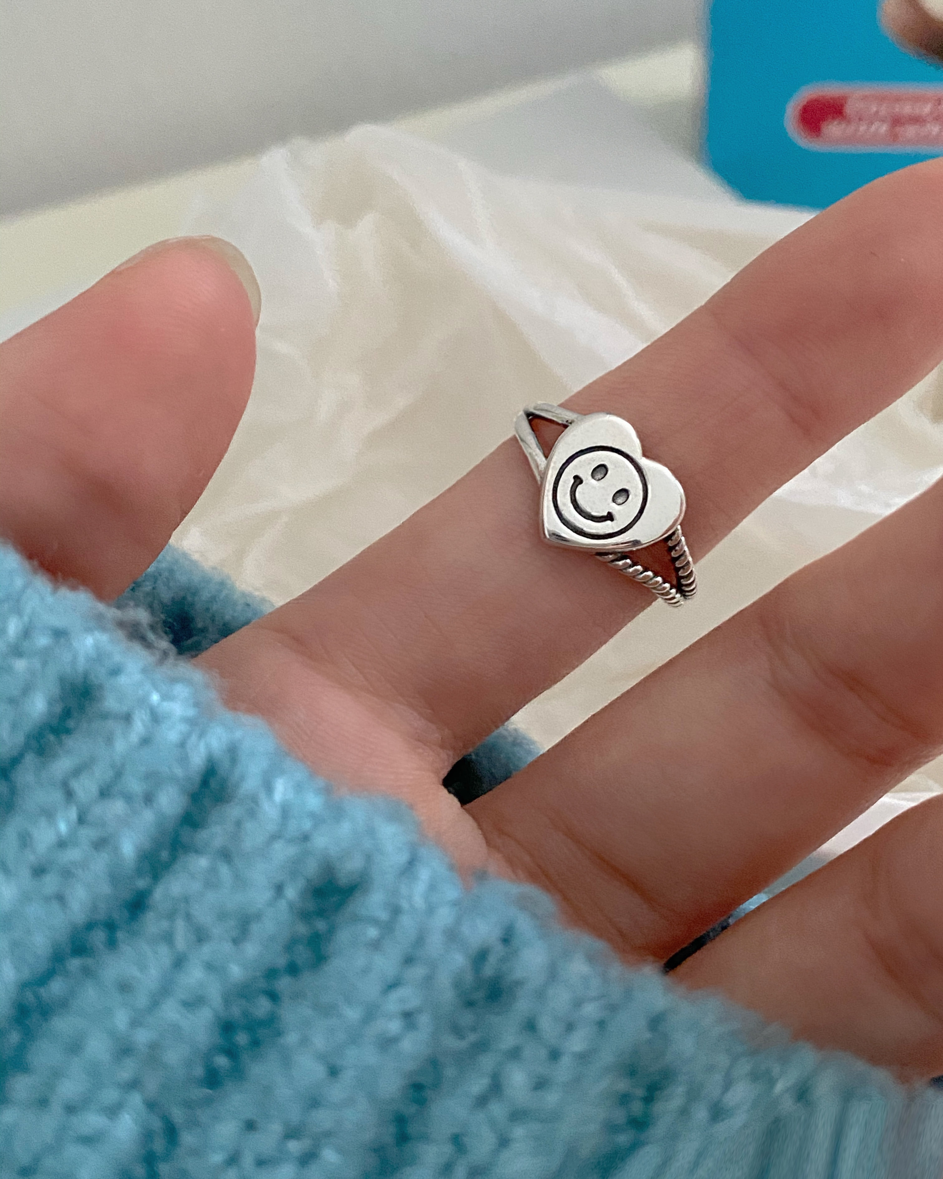 [92.5 silver] smile heart open ring