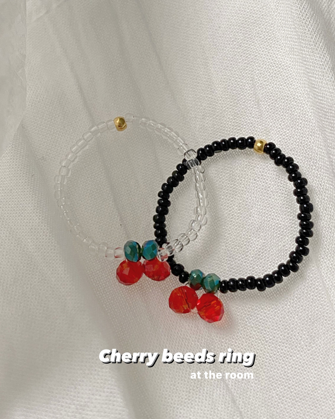 [핸드메이드] cherry beads ring (2 color)
