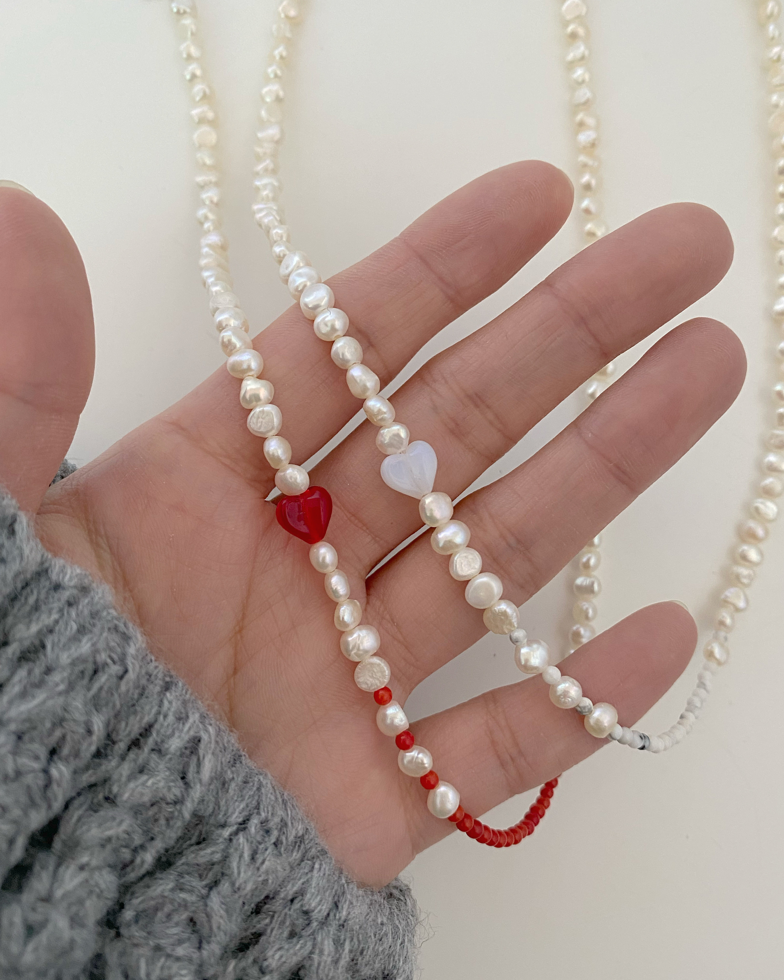 [담수진주] lovable pearl necklace (2 color)
