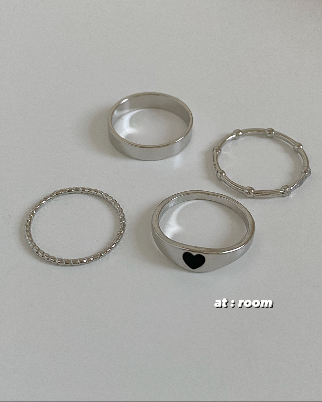[4ps] concept heart ring set (2 color)