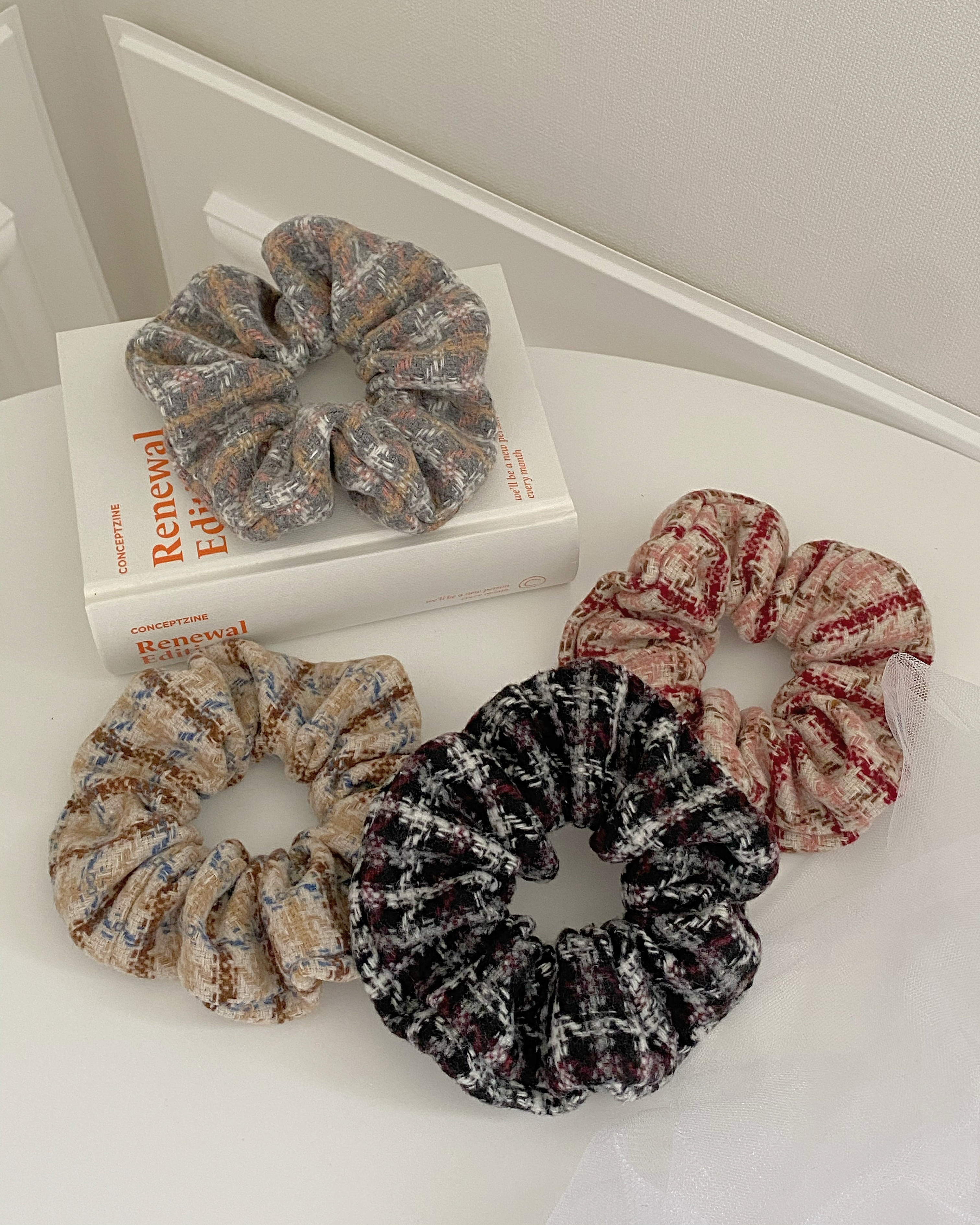 wool check scrunchy (4 color)