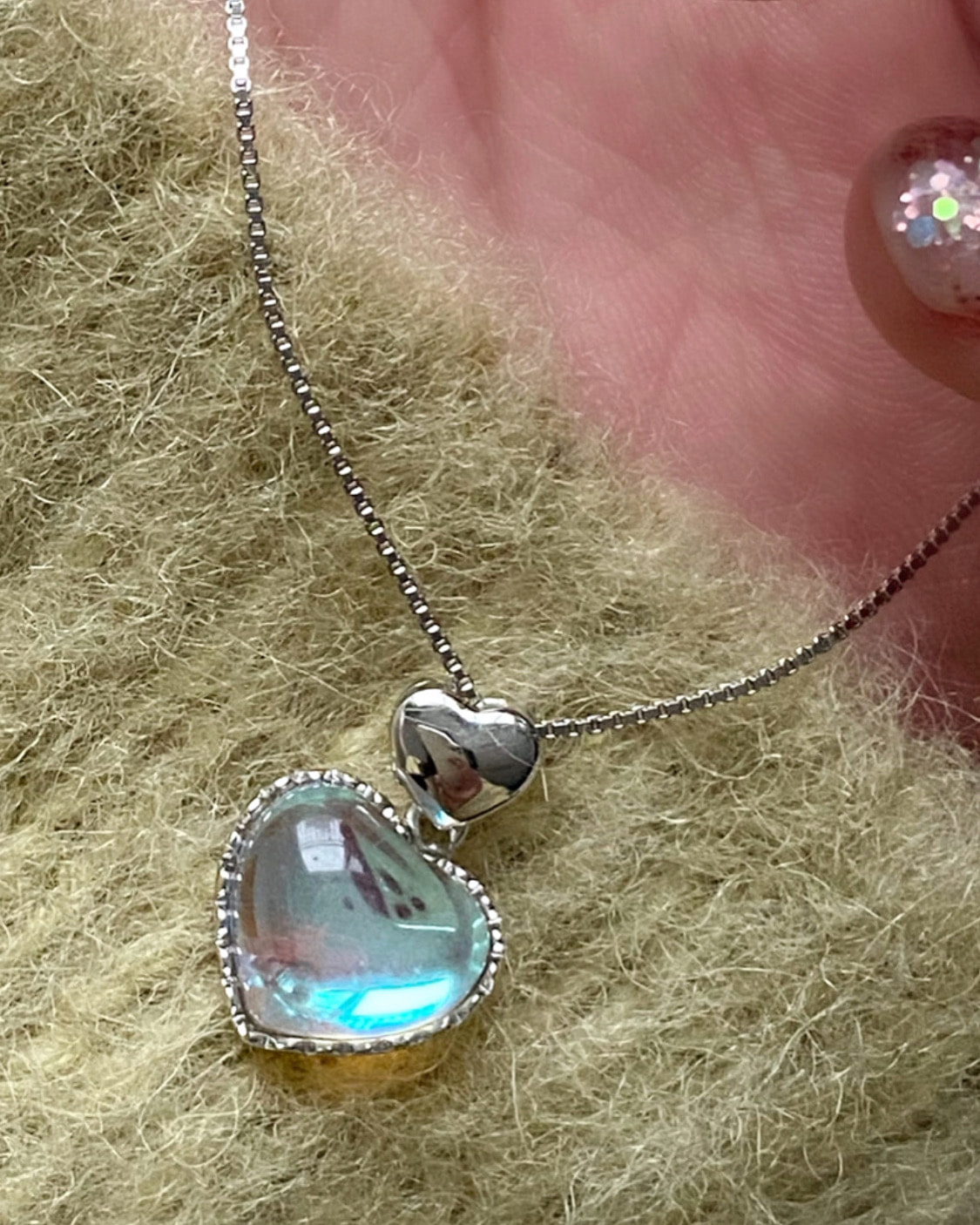 [92.5 silver] clear opal heart necklace