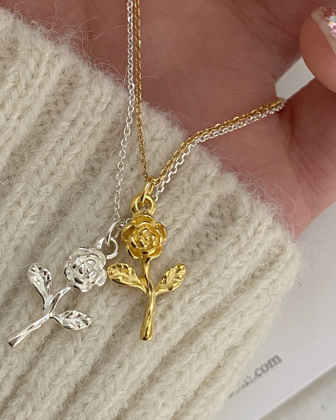 [92.5 silver] rose necklace (2 color)