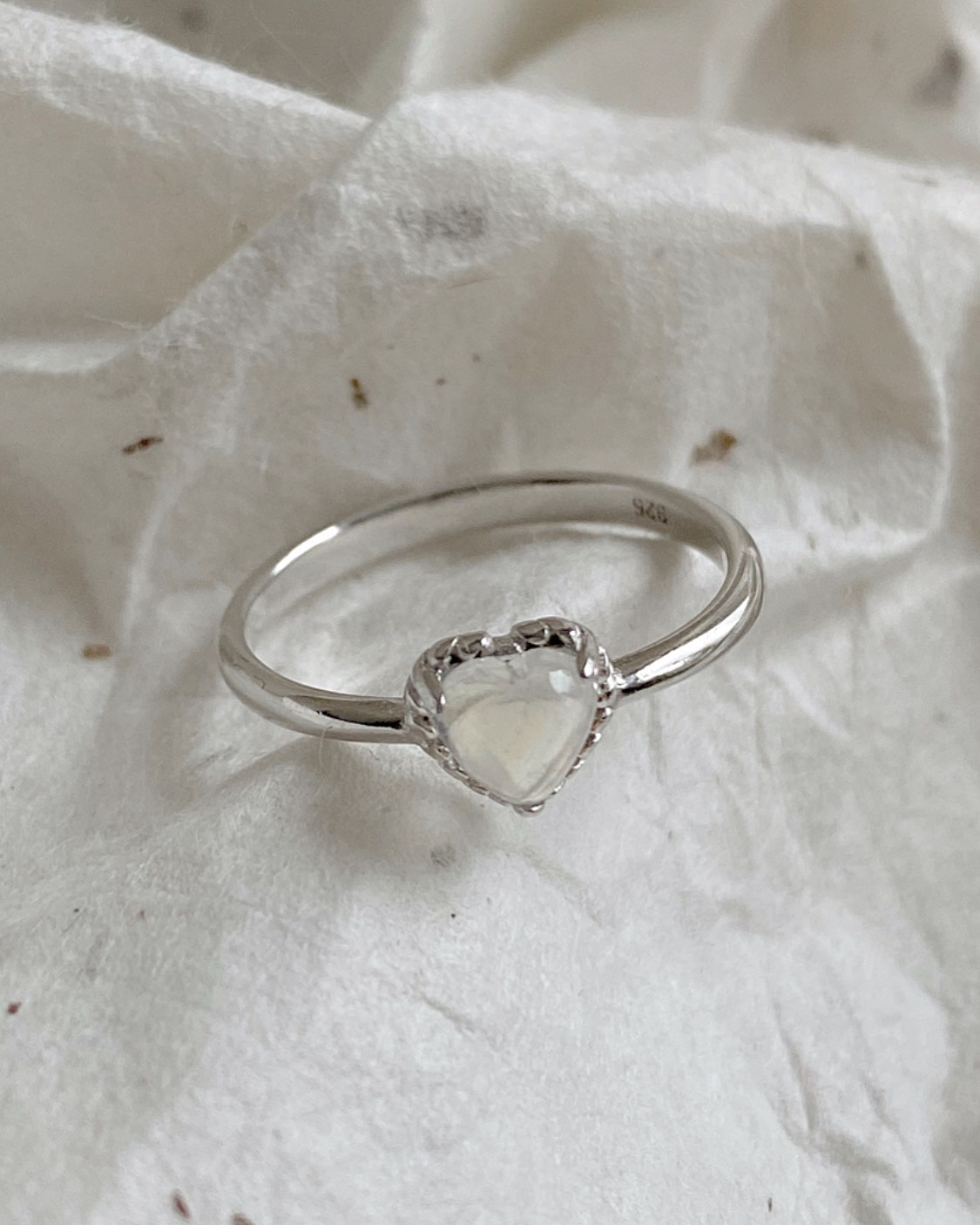 [92.5 silver] moonstone heart ring