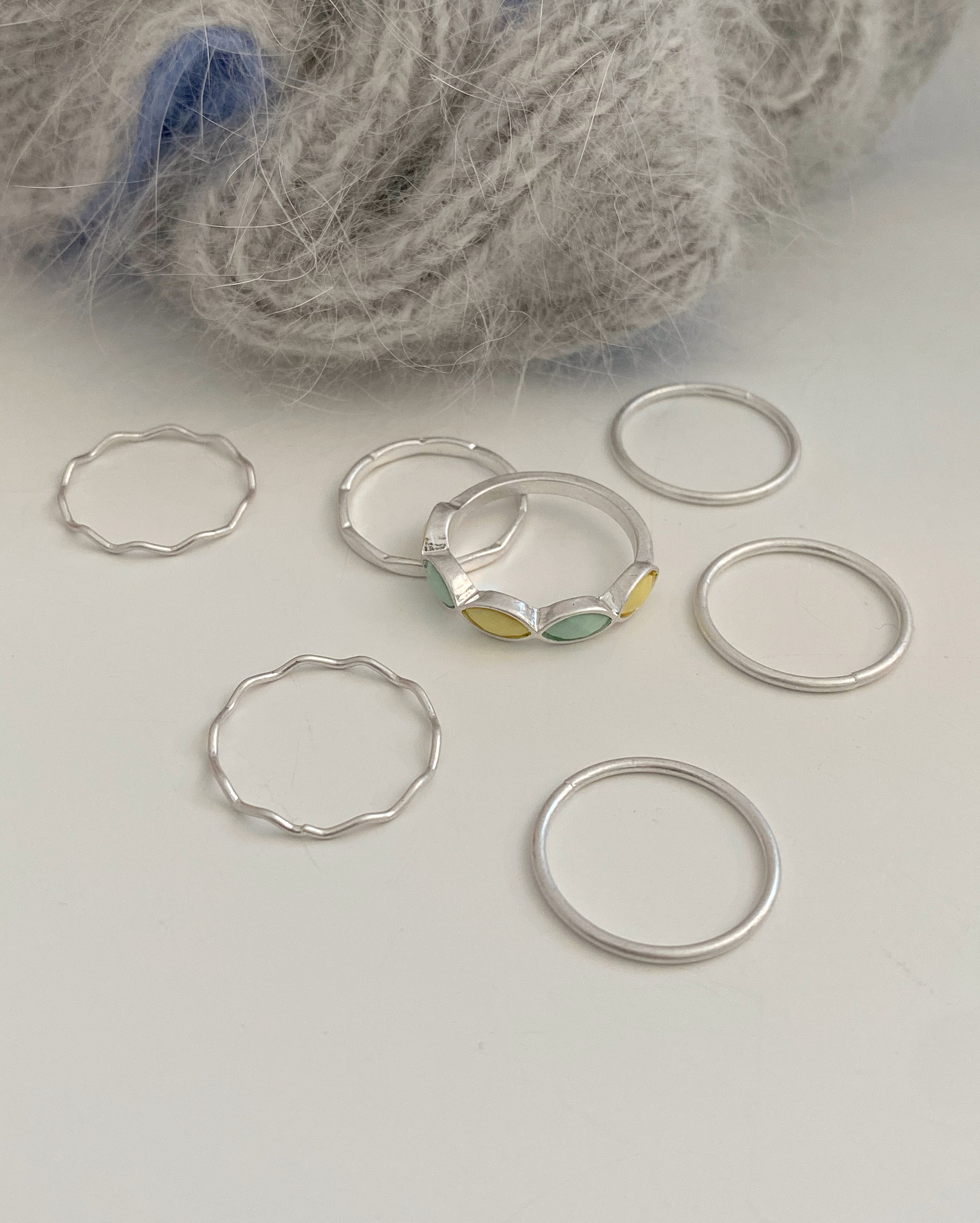 7ps apeach ring set