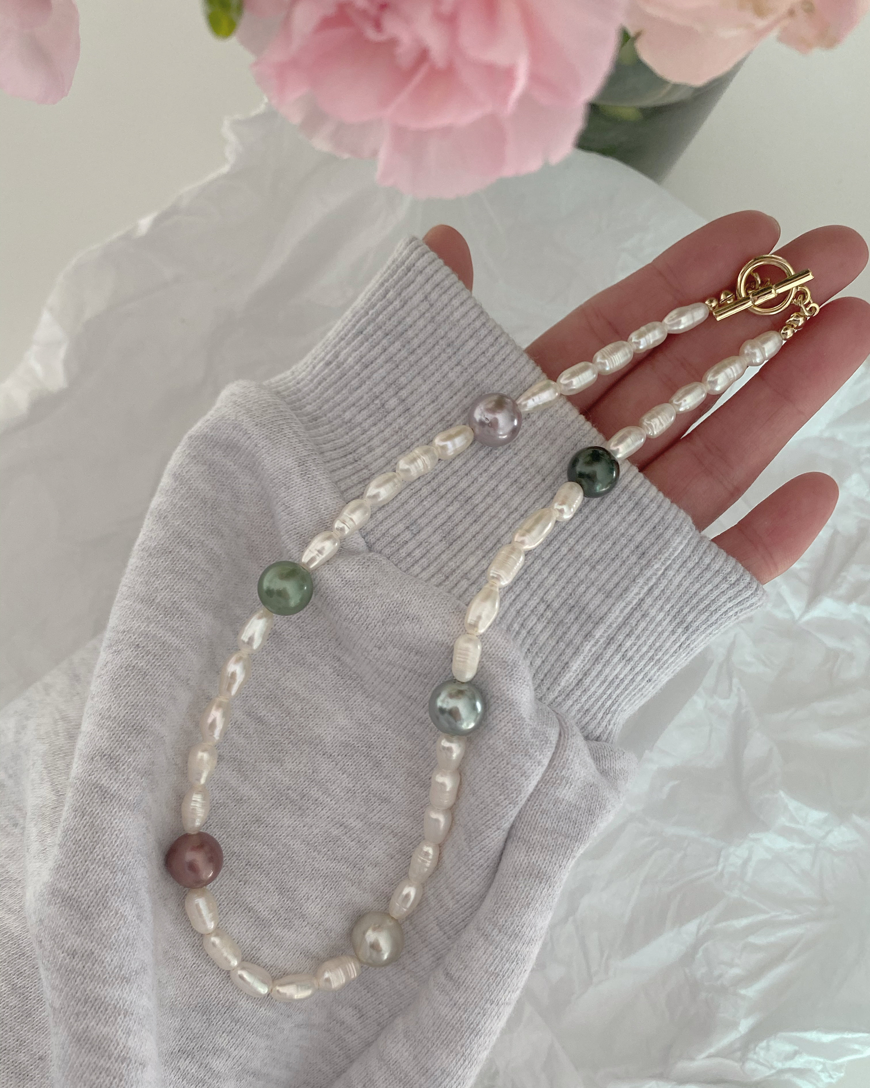 [담수진주] multi pearl necklace